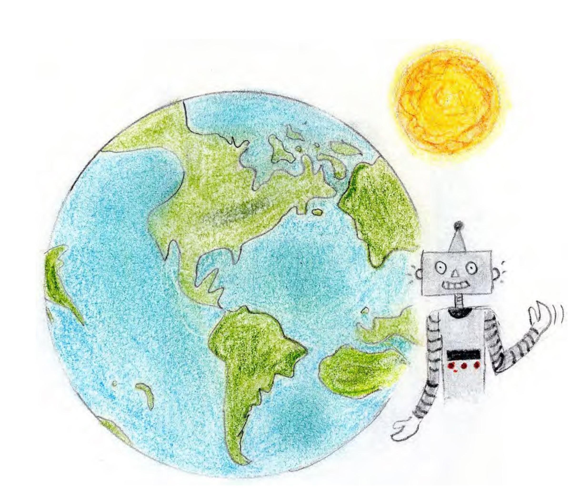 illustration avec un robot, une Terre, un soleil